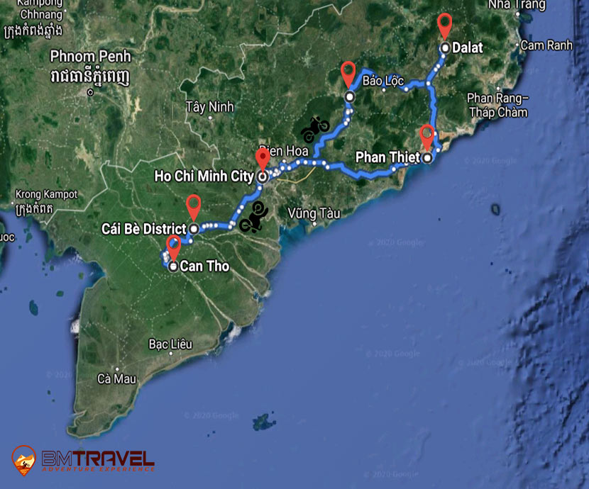 maps of Finding Out The Breathtaking Sceneries Of The South In 8 Days With Vietnam Motorbike Tour