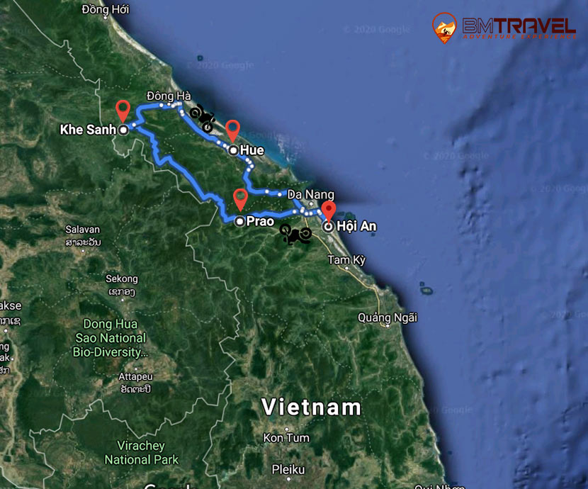 maps of Discovering Off-road Motorbike Tour Around Central Vietnam – 8 Days