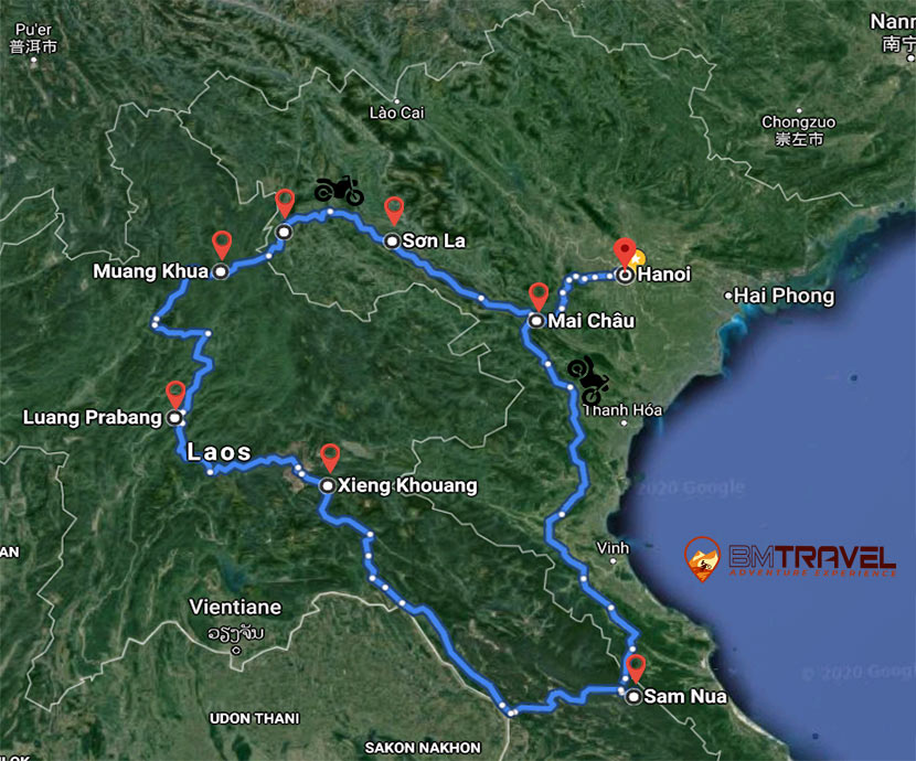 maps of 10 days riding off-road motorcycles crossing border from Vietnam to Laos