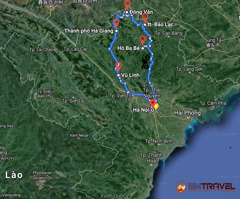 maps of 6 day 5 night Ha Giang motorbike exploration tours