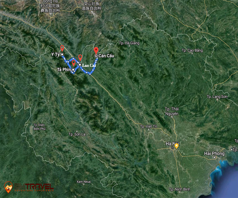 maps of 2 days looping around Sin Ho – the second Sapa of Vietnam Motorbike Tours