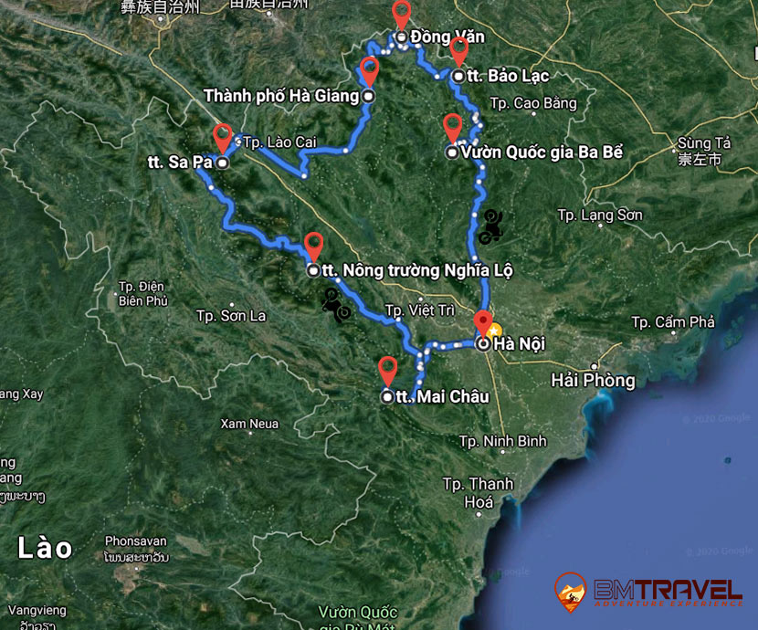 maps of Vietnam Motorcycle Tours to explore Northwest Vietnam for 9 days and 8 nights. The best of the best