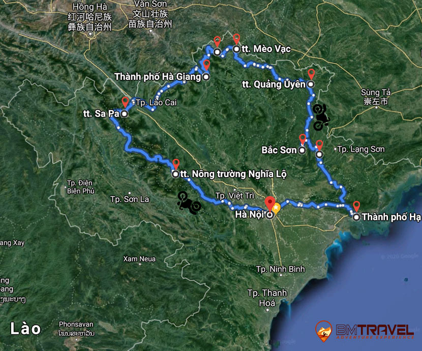 map of 10 day 9 night Eastern North-West Vietnam exploration tour (Sapa and Ha Long included)