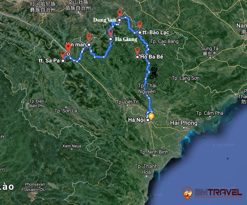 maps of 6 day motocycle tour to northeast Vietnam