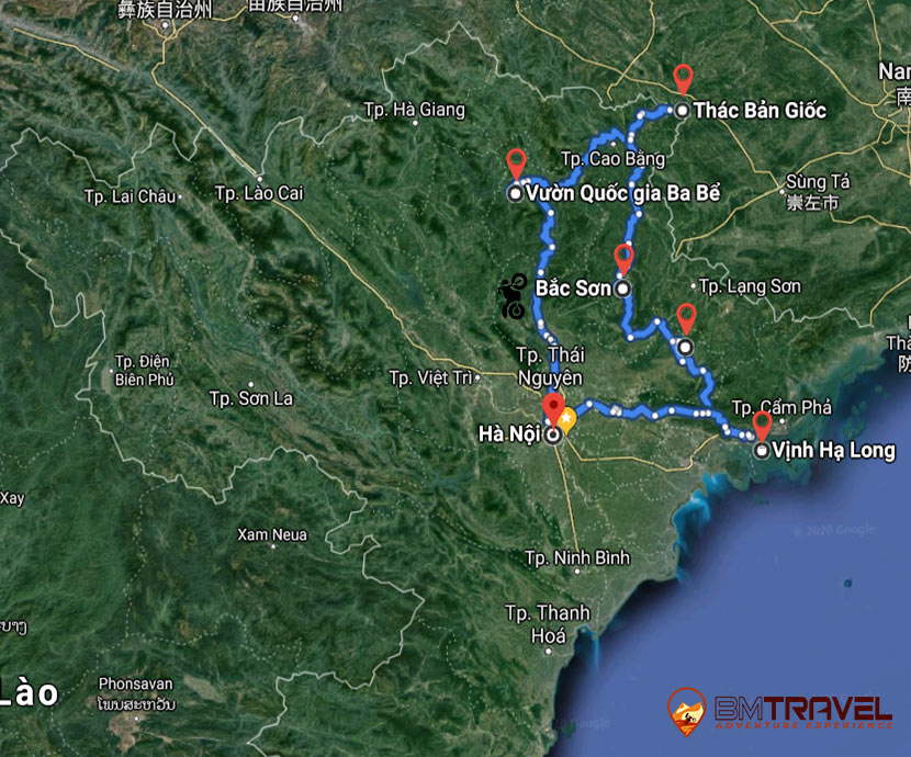 maps of 7 Day Motorbike Tours In Northeast Vietnam