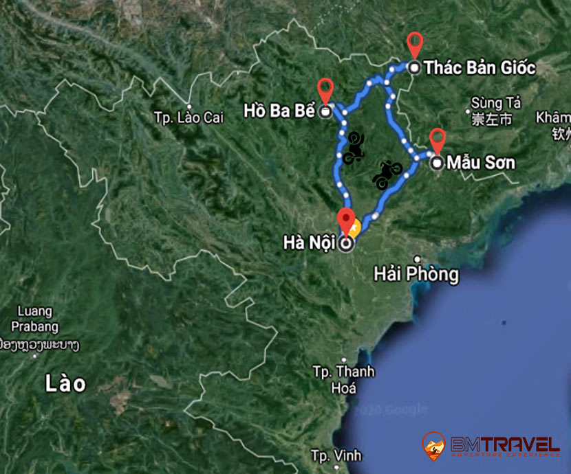 maps of 5 day North-East Vietnam tour