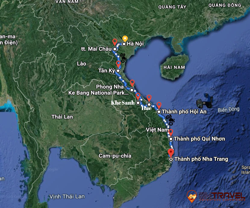 maps of INSPIRING HANOI MOTORBIKE TOUR TO HOI AN AND NHA TRANG – 10 DAYS