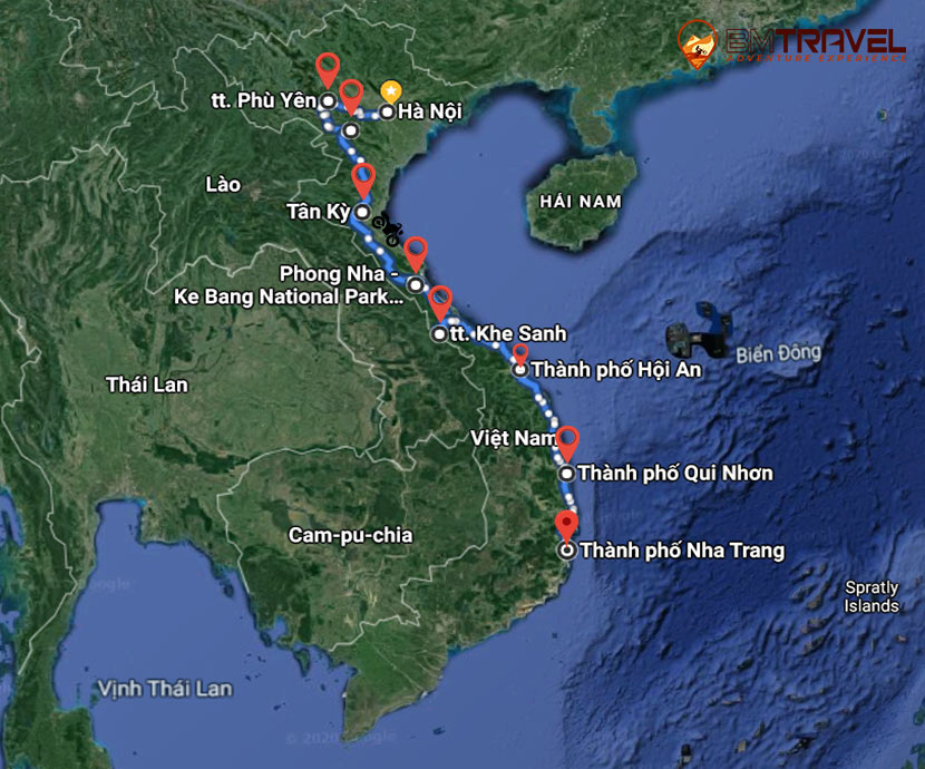 maps of Memorable Vietnam Motorbike Tour On Ho Chi Minh Trail – 11 Days