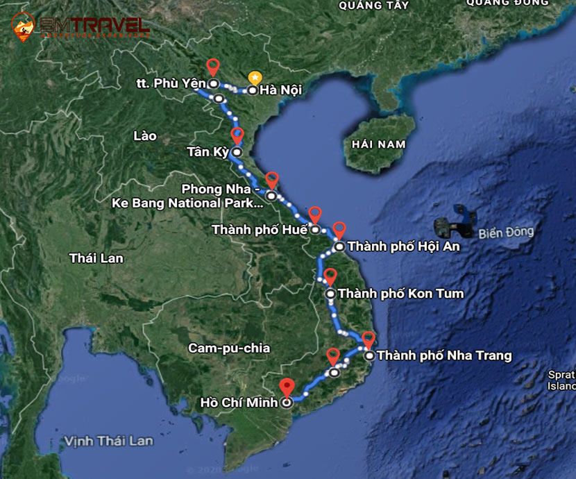 maps of Vietnam Motorcycle Tours Full Ho Chi Minh Trail Motorbike Ride 16 Days