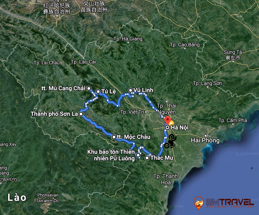 maps of Vietnam Motorbike Tours with 8 day 7 night Pristine and Romantic North-West Vietnam Off-road exploration tour