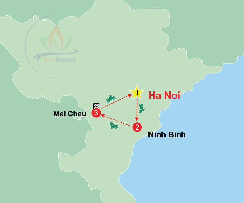 maps of Vietnam Motorcycle Tours Normal and easy road 3-day and 2-night in north of Vietnam