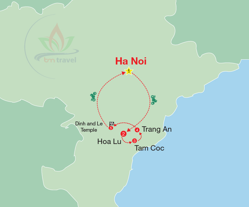 maps for Vietnam motorbike tour to Visit Hoa Lu Tam Coc Trang An Dinh and Le temples
