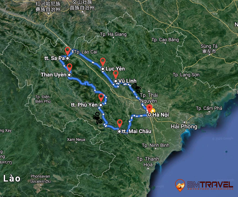 maps of Discovering Northern Vietnam With Vietnam Motorbike Tours Club Team in 7 Days