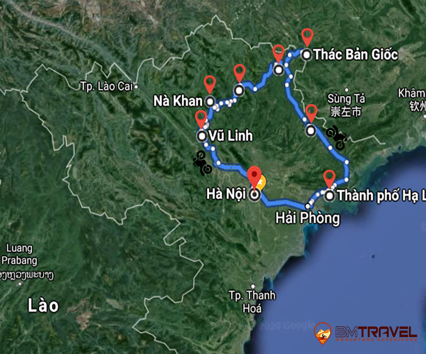 maps of Imposing North-East Vietnam Motorbike Tour From Hanoi To Halong Bay – 9 Days