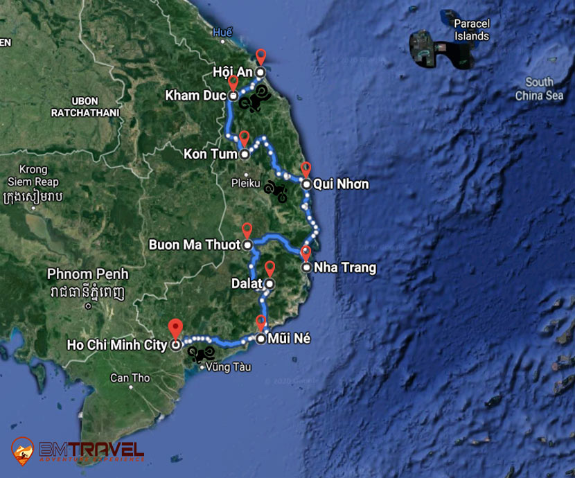 maps of Remarkable Motorbike Tour From Hoi An To Saigon – 11 Days