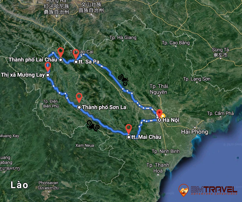 maps of Evaluation experience Vietnam Motorbike Tour To Sapa - 6 Days