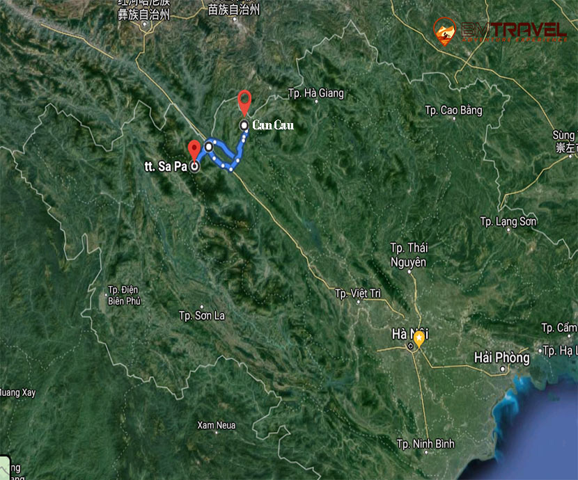 maps of 2 days for discovering the unique markets - Can Cau and Bac Ha market in Vietnam Motorbike Tour