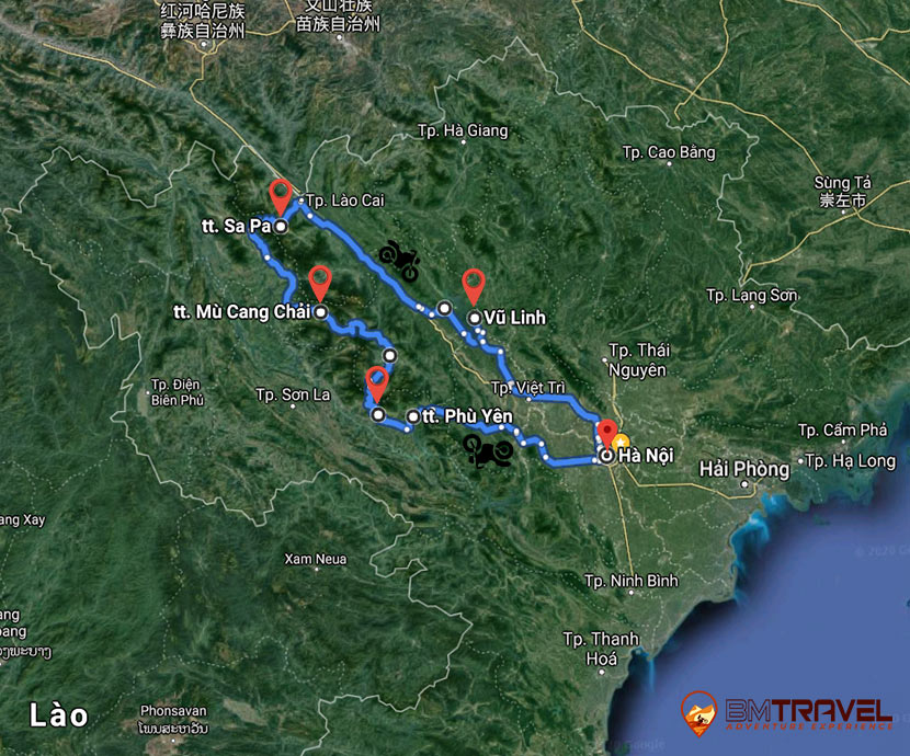 maps of GREAT VIETNAM MOTORBIKE TOUR TO NORTH WEST IN 5 DAYS