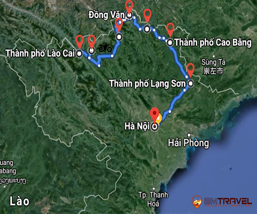 maps of Vietnam Motorbike Northeast Tour in 8 Days
