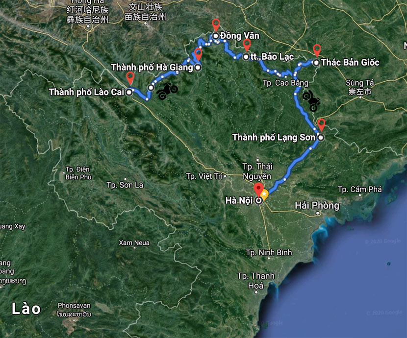maps of Overview about Overwhelming Northeast Vietnam Motorbike Track - 8 Days