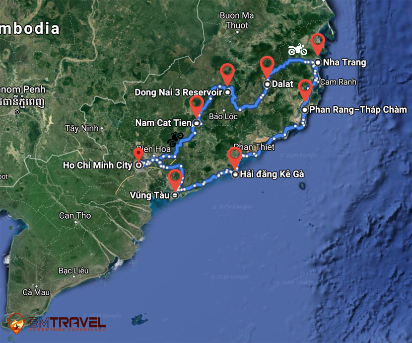 maps of Finding Out The Breathtaking Sceneries Of The South In 8 Days With South Vietnam Motorcycle Tour