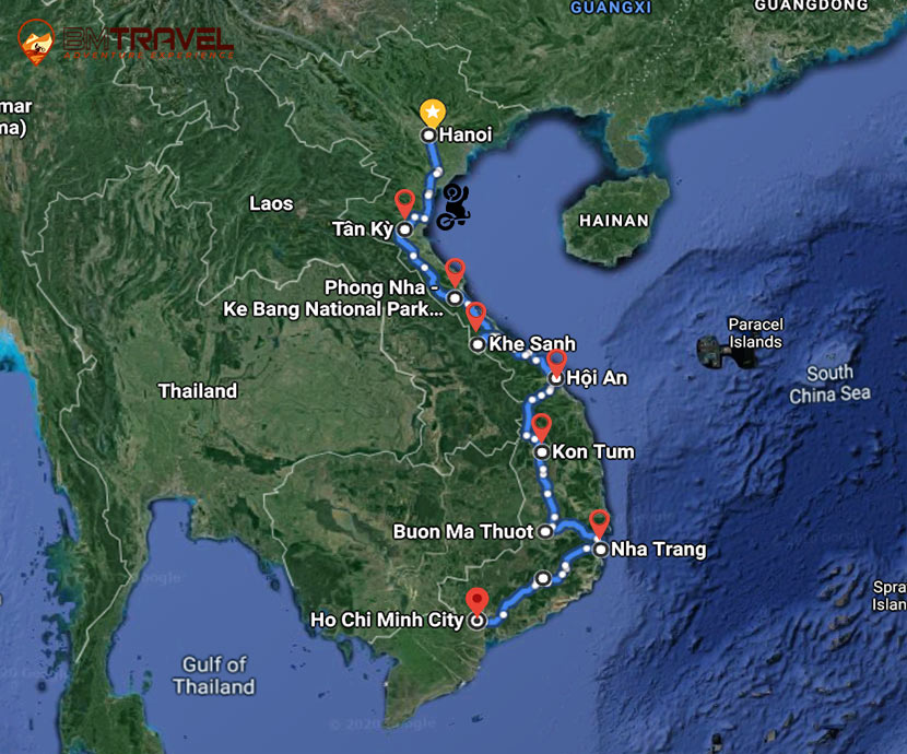maps of 12 Days Incredible Sightseeing Along To Motorbike Tour Ho Chi Minh Trail
