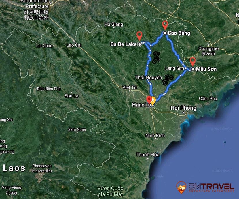 maps of Adventure for northeast in 7 days with Vietnam Motorbike Tour
