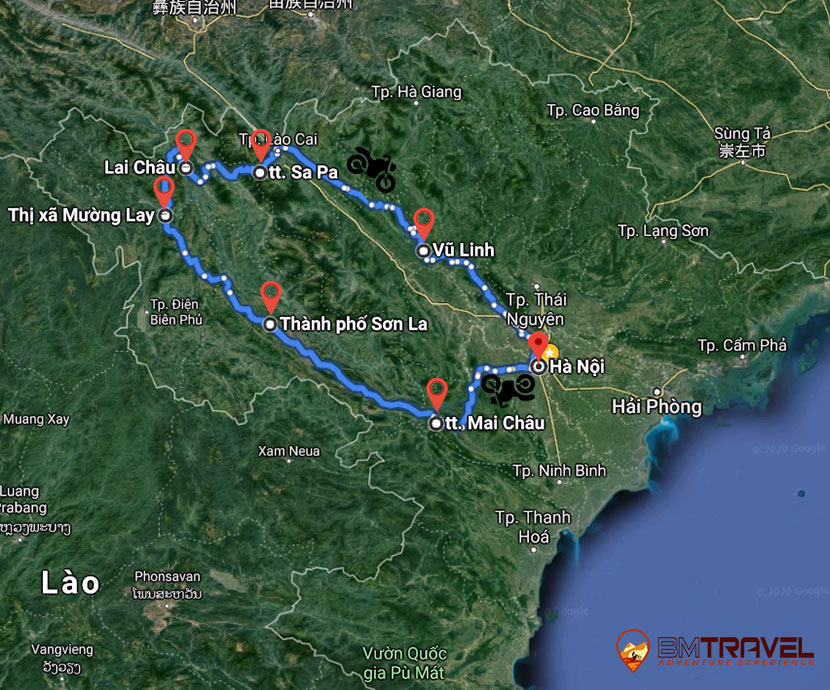 maps of Keep yourself peaceful moments when joining off-road Sapa motorbike tour