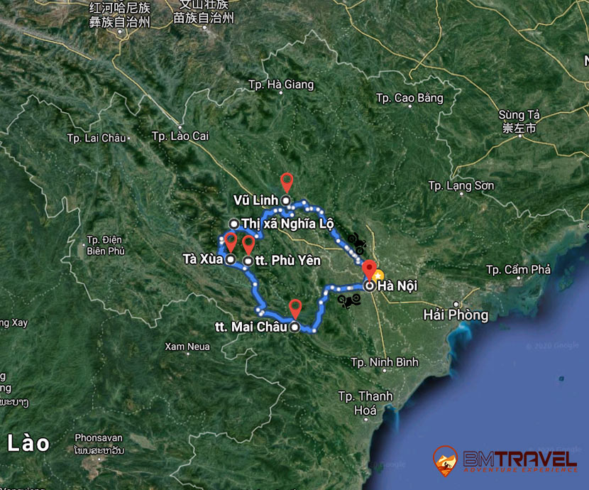 maps of Off-Road Vietnam Motorbike Tours - 6 Days